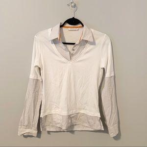 Sandwich_ UK Collared Striped Shirt T-Shirt Grey